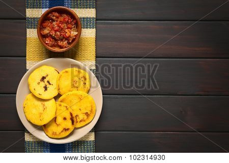 Colombian Arepas with Hogao Sauce