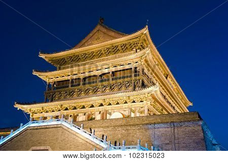 Drum Tower At Night, Xian, China