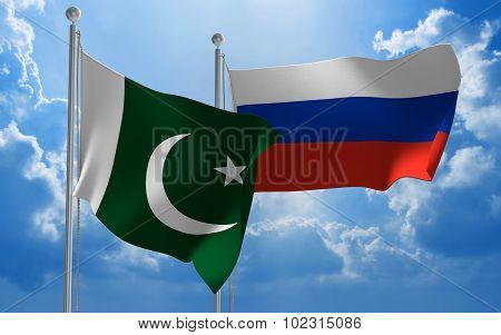 Pakistan and Russia flags flying together for diplomatic talks