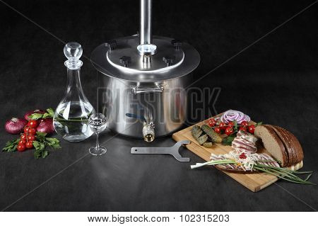 Home Brewing Equipment, Brewed Alcohol Distiller,  Stainless Boiler, With Valve.