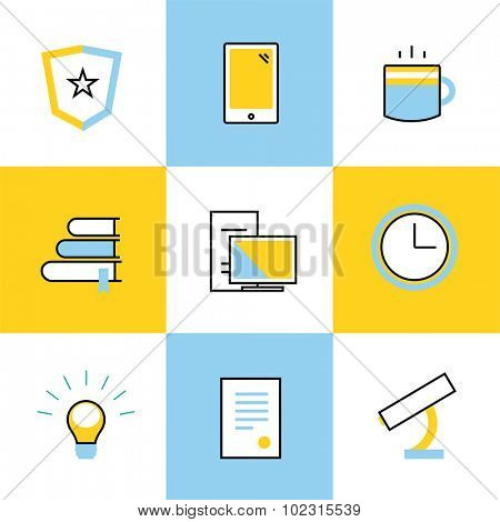 Education vector icons. Scool or university vector icons sign. Clock, books and diploma, students, computer, microscope icon. Education symbols, logo, icons