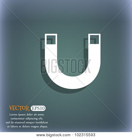 Magnet Sign Icon. Horseshoe It Symbol. Repair Sig. On The Blue-green Abstract Background With Shadow