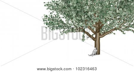 Man Sitting Underneath a Money Tree as Business Concept