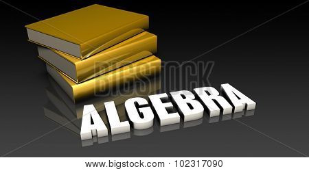 Algebra Subject with a Pile of Education Books