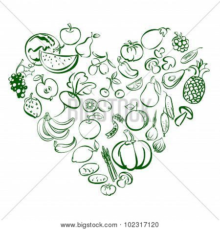 Heart from food fruits and vegetables icon   vector illustration