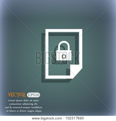 File Locked Icon Sign. On The Blue-green Abstract Background With Shadow And Space For Your Text. Ve