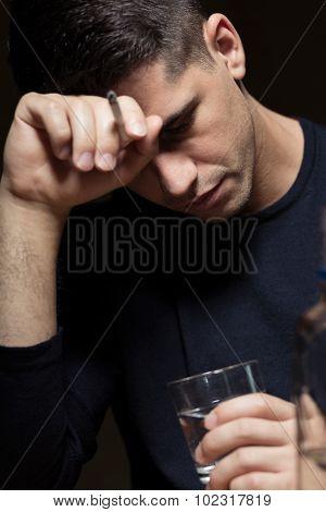 Desperate Man Abusing Alcohol