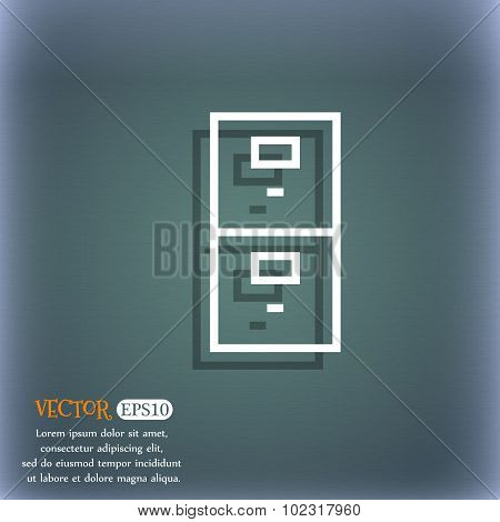 Safe Sign Icon. Deposit Lock Symbol. On The Blue-green Abstract Background With Shadow And Space For