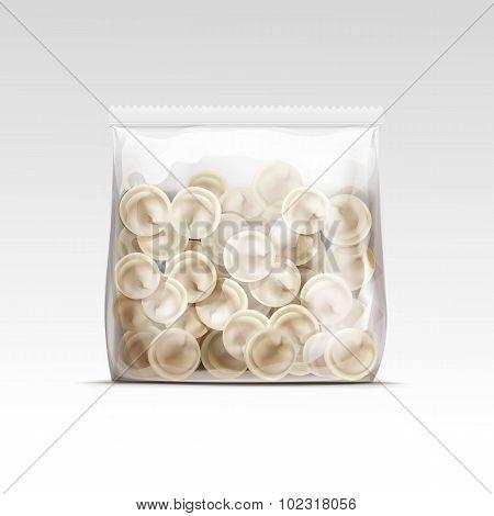 Pelmeni Meat Dumplings Ravioli Tortellini Packaging Package Pack Isolated Vector