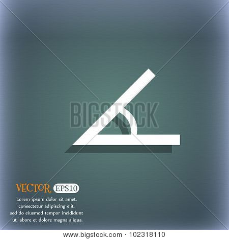 Angle 45 Degrees Icon Sign. On The Blue-green Abstract Background With Shadow And Space For Your Tex