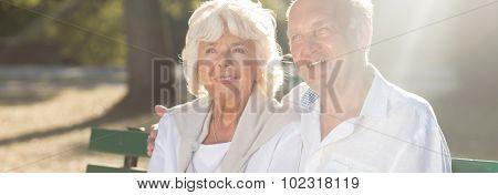 Elder Couple Is Sitting Together