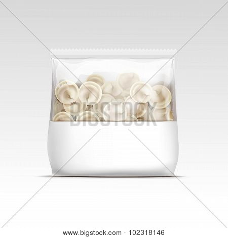 Pelmeni Meat Dumplings Ravioli Tortellini Packaging Package Pack Isolated Vector