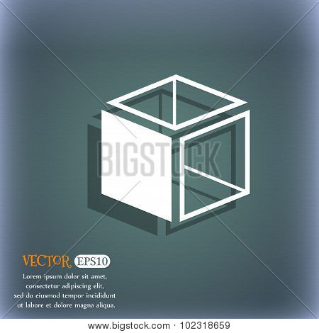 3D Cube Icon Sign. On The Blue-green Abstract Background With Shadow And Space For Your Text. Vector