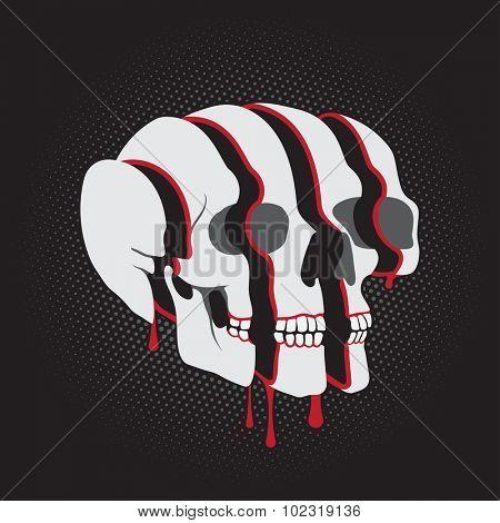 Sliced surreal Skull on black background