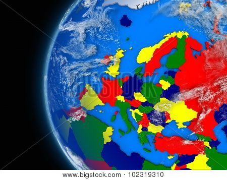 European Continent On Political Globe