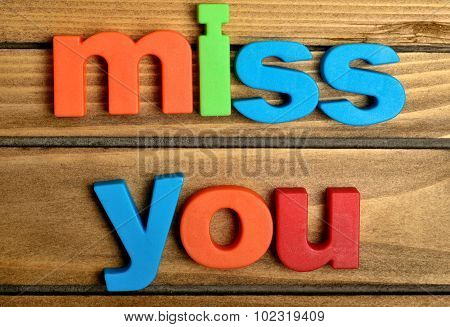 Colorful Miss You Word