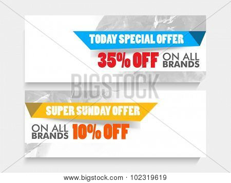 Special offer Sale Website header or banner set with fantastic discount offer for limited time.