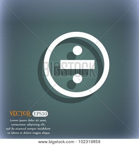 Dividing Icon Sign. On The Blue-green Abstract Background With Shadow And Space For Your Text. Vecto