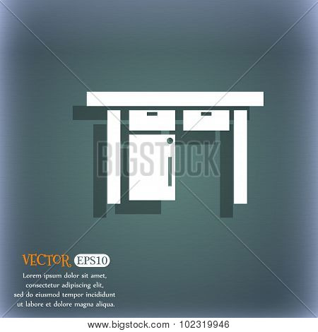 Nightstand Icon Sign. On The Blue-green Abstract Background With Shadow And Space For Your Text. Vec