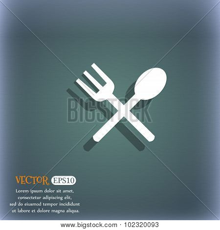 Fork And Spoon Crosswise, Cutlery, Eat Icon Sign. On The Blue-green Abstract Background With Shadow