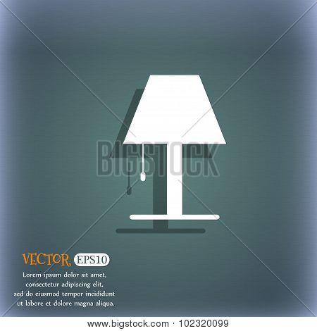 Chandelier Light Lamp Icon Sign. On The Blue-green Abstract Background With Shadow And Space For You