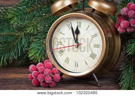 Christmas Clock And Fir Branches