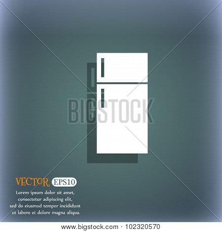 Refrigerator Icon Sign. On The Blue-green Abstract Background With Shadow And Space For Your Text. V