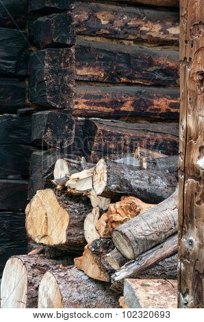 Firewood Stacked At A Loghome