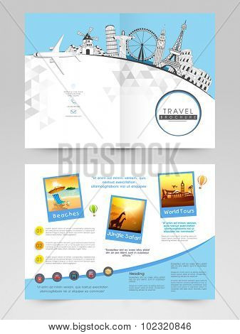 Creative Brochure, Template or Flyer design with illustration of famous monuments for Tour and Travels.