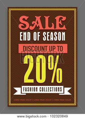 End of Season Sale flyer, template or banner design with 20% discount offer on Fashion Collections.