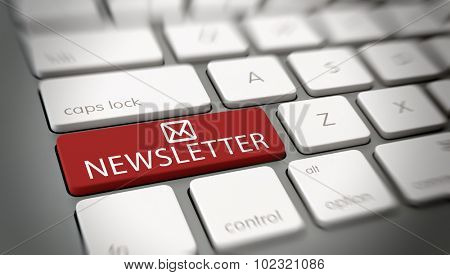 Online newsletter mail concept with a close up angled view of a white computer keyboard with a single large red key with an email or mail icon and the word - Newsletter - in white text. 3d Rendering.