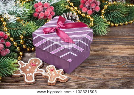 Gingerbread Man  And A Gift Box