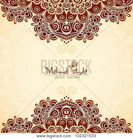 Vvintage flowers ethnic background in Indian mehndi style