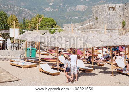 Budva, Montenegro, September, 19, 2015: The beach of an Adriatic sea in Budva, Montenegro