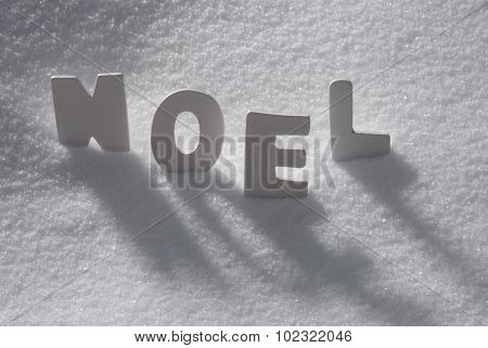 White Word Noel Means Christmas On Snow