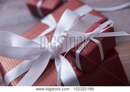 One Red Christmas Gift, Present, White Ribbon, Copy Space
