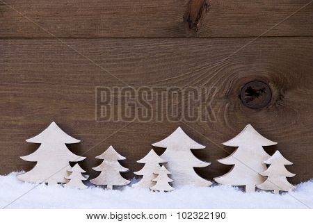 Wooden Christmas Trees On Snow, Copy Space