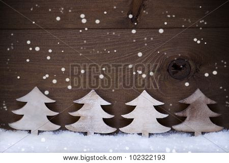 Four Wooden Christmas Trees, Snow, Copy Space, Advent, Snowflake