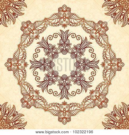 Vintage mandala seamless pattern in Indian mehndi style