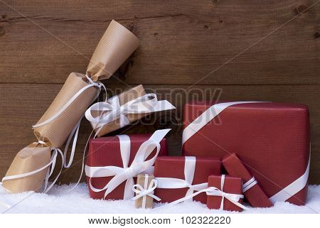 Red Christmas Gifts, Presents, White Ribbon