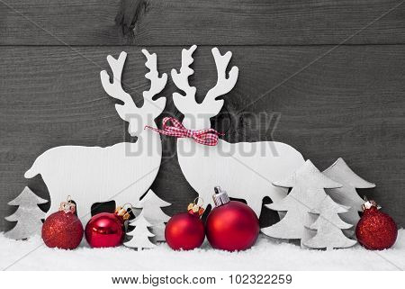Gray Christmas Decoration, Reindeer Couple, Love, Snow, Red Ball