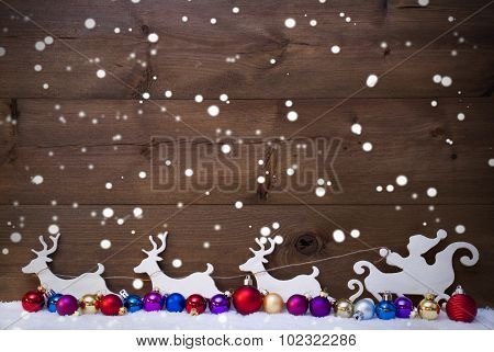 Santa Claus Sled With Reindeer,Snow, Christmas Balls, Snowflakes