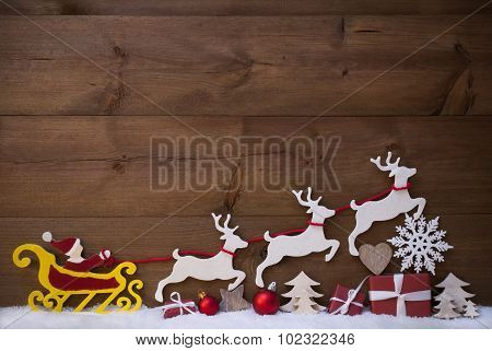 Red Santa Claus Sled With Reindeer, Snow, Christmas Decoration