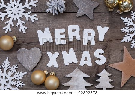 Wooden Background, Merry Xmas, Golden, Gray Christmas Decoration
