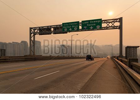 Afternoon Haze On Ross Island Bridge In Portland