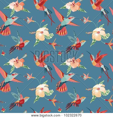 Hummingbird and Tropical Background - Retro seamless pattern