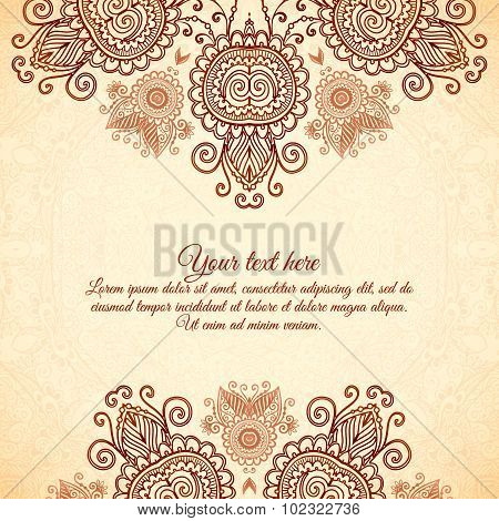 Vintage floral background in Indian mehndi style