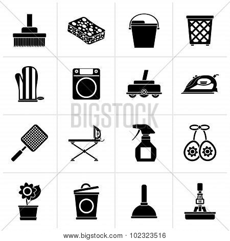 Black Household objects and tools icons