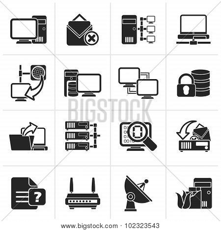 Black Computer Network and internet icons