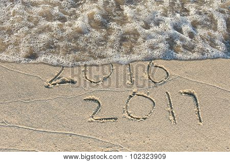 New Year 2017 on seashore